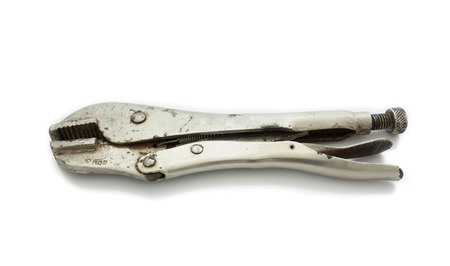 locking: Old locking pliers isolated on white background