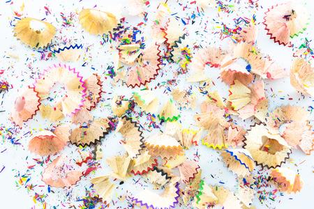shavings: Shavings from multicolored pencils on white background