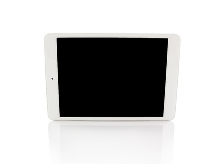 touch pad: White generic tablet computer (tablet pc) on white background. Modern portable touch pad device with black screen.