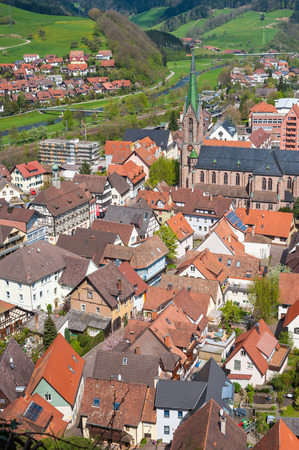 historically: Look at Hausach with the church Saint Mauritius Hausach Black Forest BadenWurttemberg Germany Europe