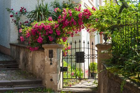 城の階段、バーデン = バーデン、黒い森、バーデン = ヴュルテンベルク州、ドイツ、ヨーロッパでローズ低木と庭のドア