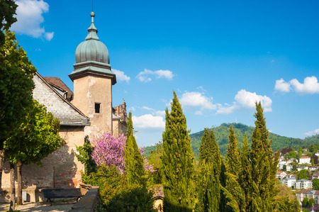 castle: Castle terrace of the new castle, Baden-Baden, Black Forest, Baden-Wurttemberg, Germany, Europe