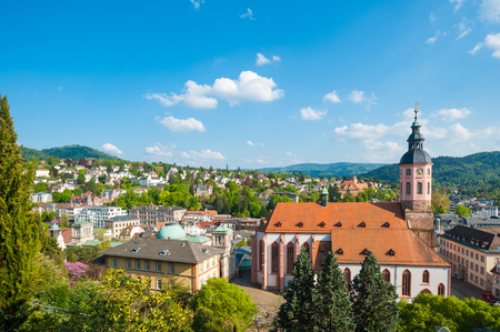View of the city with collegiate church, Baden-Baden, Black Forest, Baden-Wuerttemberg, Germany, Europe