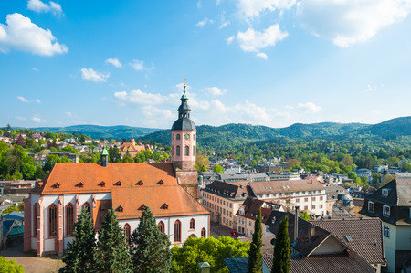 forest: View of the city with collegiate church, Baden-Baden, Black Forest, Baden-Wuerttemberg, Germany, Europe