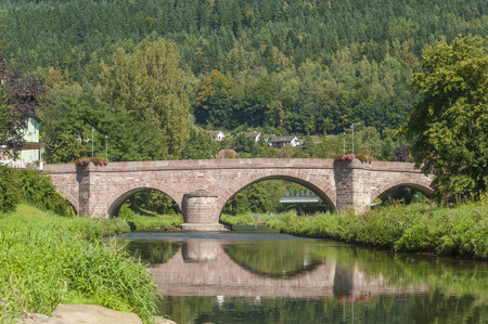countrysides: The Hirsauer bridge over the river Nagold in Hirsau, Black Forest, Baden-Wurttemberg, Germany, Europe Stock Photo