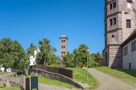 abbeys: The owl tower in the historical monastery Hirsau in the Black Forest, Baden-Wurttemberg, Germany, Europe