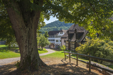 abbeys: The inner courtyard in the historical monastery Hirsau in the Black Forest, Baden-Wurttemberg, Germany, Europe