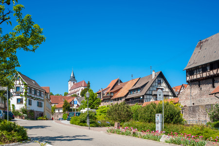 black forest: Half-timbered houses in the old town of Gernsbach with Liebfrauenkirche,  Black Forest, Baden-Wuerttemberg, Germany, Europe