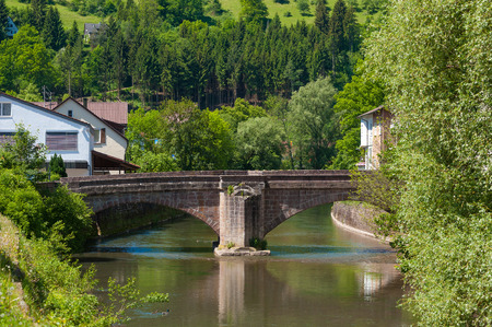black forest: The historic Hirschbrcke with river Nagold in Wildberg, Black Forest, Baden-Wurttemberg, Germany, Europe