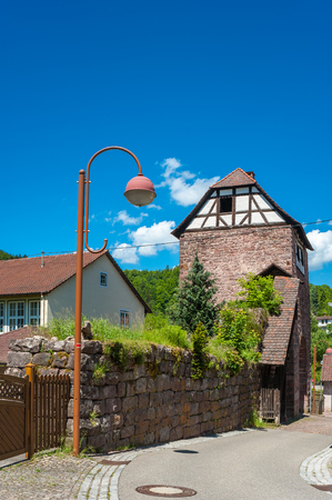 gables: The historical arrest tower in Wildberg, Black Forest, Baden-Wurttemberg, Germany, Europe