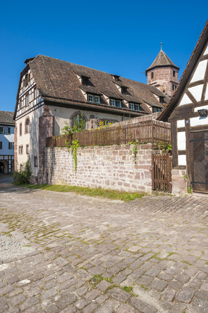 Historical half-timbered houses in the former monastery Hirsau in the Black Forest, Baden-Wurttemberg, Germany, Europe