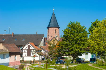 rivulet: Look to the holy cross church in Loffenau, Black Forest, Baden-Wurttemberg, Germany, Europe Stock Photo