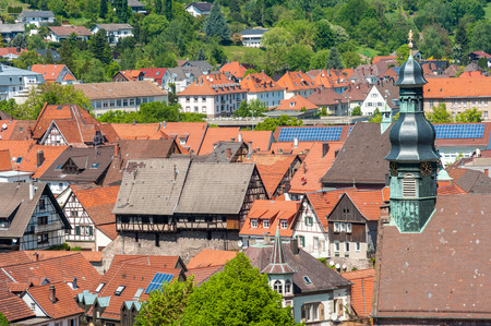 jacob: Cityscape of Gernsbach with Saint Jacob Church, Black Forest, Germany, Europe