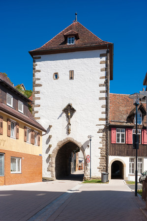 lucifer: The historical Lucifer tower also Ihlinger gate called in Horb on the Neckar, Black Forest, Baden-Wurttemberg, Germany, Europe Stock Photo