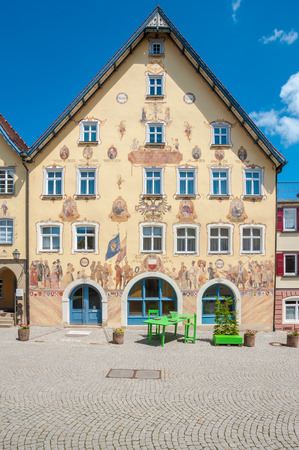 broadsheet: HORB ON THE NECKAR, GERMANY - MAY 30, 2009: The historic town hall with the facade painting Horber illustrated broadsheet. Black Forest, Baden-Wurttemberg, Germany, Europe