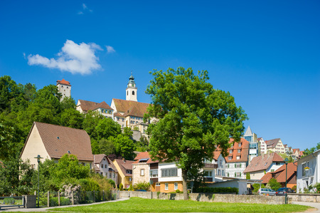 townscape: Townscape with the collegiate church of the Holy Cross and the villainous tower in Horb on the Neckar. Black Forest, Baden-Wuerttemberg, Germany, Europe Stock Photo