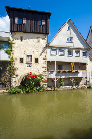 little venice: Little Venice and the water gate in the historic center of Horb am Neckar. Black Forest, Baden-Wuerttemberg, Germany, Europe Stock Photo