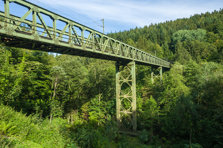 forest railway: Railway bridge in the Murgtal near Forbach. Black Forest, Baden-Wurttemberg, Germany, Europe Stock Photo