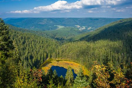 aerial photograph: The Huzenbacher lake near Baiersbronn, Black Forest, Baden-Wurttemberg, Germany, Europe Stock Photo