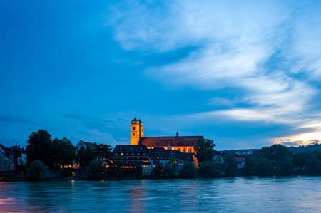 minster: The Rhine with Fridolins minster in Bad Saeckingen, Black Forest, Baden-Wuerttemberg, Germany, Europe
