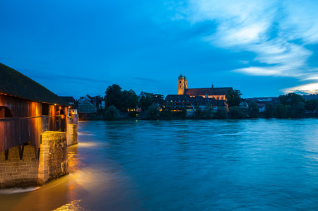 minster: The Rhine with the historic wood bridge and Fridolins minster in Bad Saeckingen, Black Forest, Baden-Wurttemberg, Germany, Europe