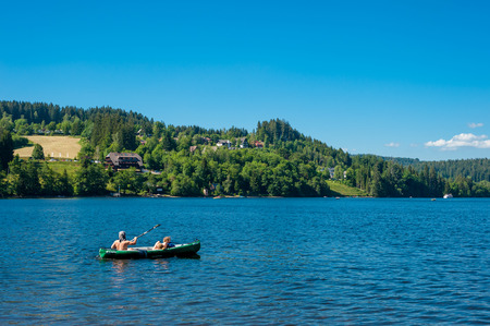 canoeist: Canoeist on the Lake Titisee, Black Forest, Baden-Wuerttemberg, Germany, Europe