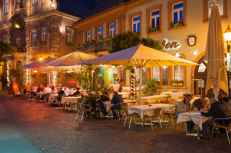 Restaurant on the church place, Ettlingen, Black Forest, Baden-Wurttemberg, Germany, Europe Editorial