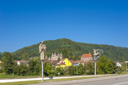 abbeys: The historical monastery Hirsau with sculptures of Peter Lenk, Black Forest, Baden-Wurttemberg, Germany, Europe