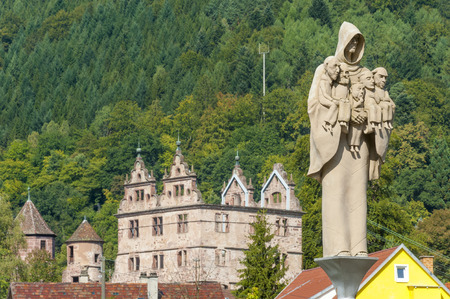 abbeys: Cloister Hirsau with the sculpture monk figure of the artist Peter Lenk, Black Forest, Baden-Wurttemberg, Germany, Europe