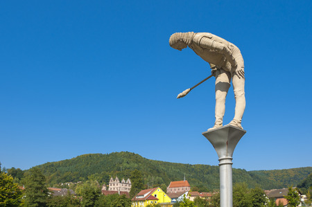 abbeys: The historical monastery Hirsau with sculpture General Melac of the artist Peter Lenk, Black Forest, Baden-Wurttemberg, Germany, Europe Editorial