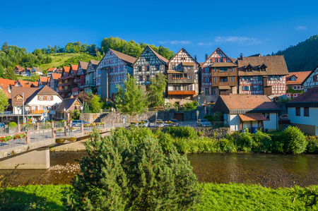 townscape: Historic townscape with old half-timbered houses on the river Kinzig Schiltach, Black Forest, Baden-Wurttemberg, Germany, Europe Editorial