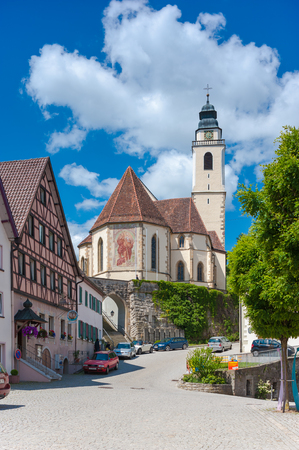 collegiate: The historical marketplace with the Collegiate Church in Horb on the Neckar. Black Forest, Baden-Wurttemberg, Germany, Europe