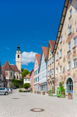 broadsheet: The historical marketplace with the Collegiate Church and the Horber illustrated broadsheet on the townhall in Horb on the Neckar. Black Forest, Baden-Wurttemberg, Germany, Europe