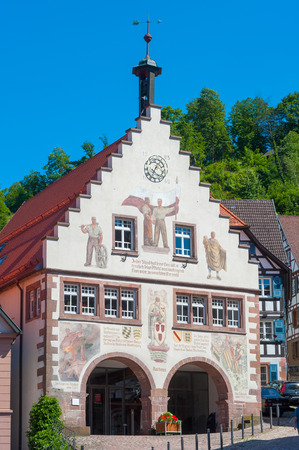 house gables: The historic townhall in Schiltach, Black Forest, Baden-Wurttemberg, Germany, Europe
