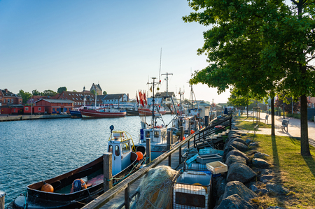 The fishing port of Heiligenhafen on the Baltic Sea Stock Photo