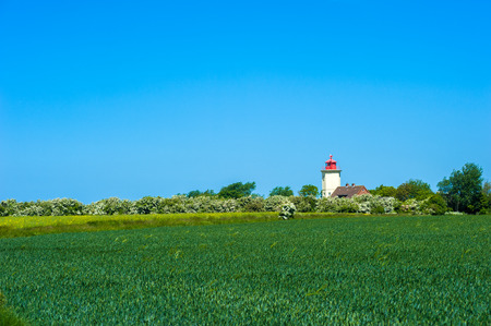 View toward the Lighthouse of Westermarkelsdorf on the Fehmarn Island