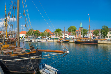 Traditional sailing ships in the harbor of Neustadt Holstein at the Baltic Sea