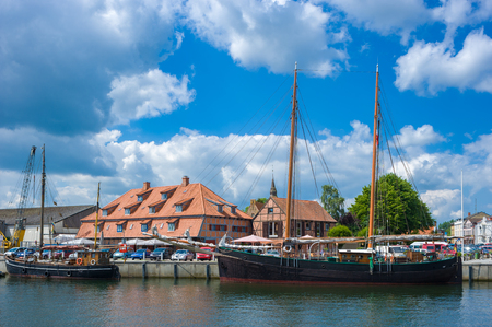 View over the harbor with traditional sailing ships in Neustadt Holstein at the Baltic Sea