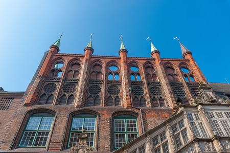 Facade of the New chamber of the town hall at the Wide street in Lubeck at the Baltic Sea