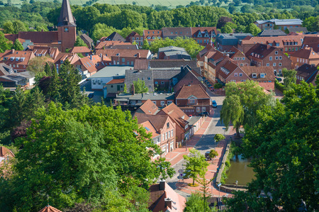 View from the Bismarckturm tower on the town of Lütjenburg at the Baltic Sea