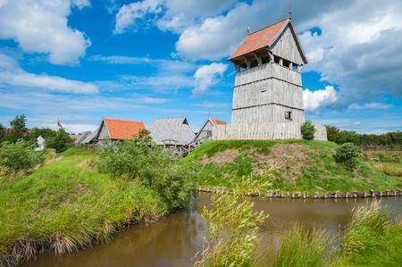 View over the moat toward the Turmhuegelburg in Luetjenburg at the Baltic Sea Stock Photo