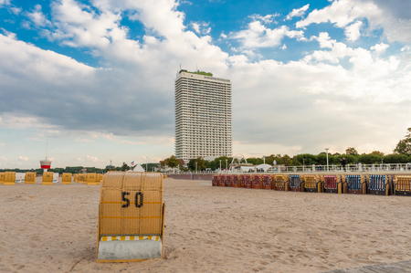 Beach overlooking the Hotel Maritim, Travem?nde, Baltic Sea, Schleswig-Holstein, Germany, Europe   Beach with view towards the hotel Maritim, Travem?nde, Baltic Sea, Schleswig-Holstein, Germany, Europe Editorial