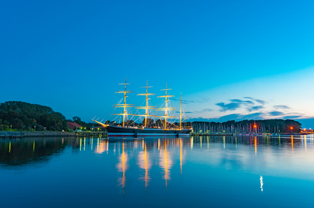 River Trave with the four-masted barque Passat, Travem?nde, Baltic Sea, Schleswig-Holstein, Germany, Europe   Passat, Travem?nde, Baltic Sea, Schleswig-Holstein, Germany, Europe Stock Photo