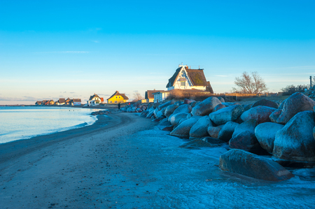 Shore of the nature reserve Graswarder with wintry landscape in Heiligenhafen at the Baltic Sea