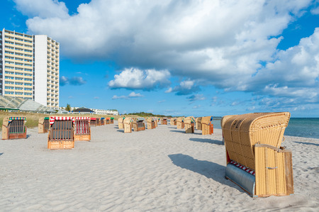 South beach with the Hotel and holiday center IFA in Burgtiefe at the Baltic Sea