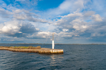 Landscape with harbor entrance in Orth at the Baltic Sea Standard-Bild