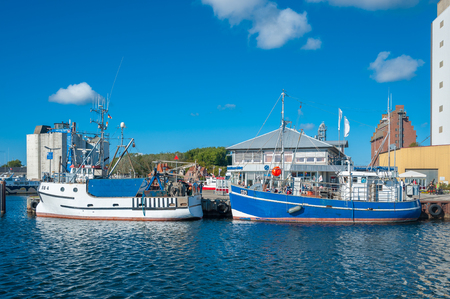 Fishing harbor in Burgstaaken at the Baltic Sea