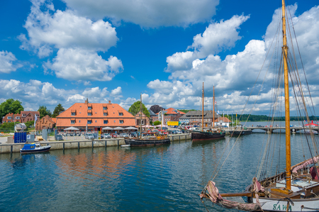 Traditional sailing ships in the harbor of Neustadt in Holstein Publikacyjne