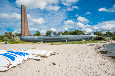 The submarine U995 and the naval memorial for the fallen marines in the first and second world war in Laboe at the Baltic Sea