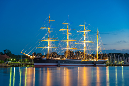 View over the Trave river towards the four-masted sailing ship Passat in Travem?nde at the Baltic Sea